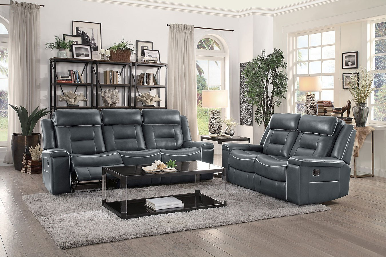 Darwan Lay Flat Reclining Living Room Set Dark Gray Homelegance Furniture Cart
