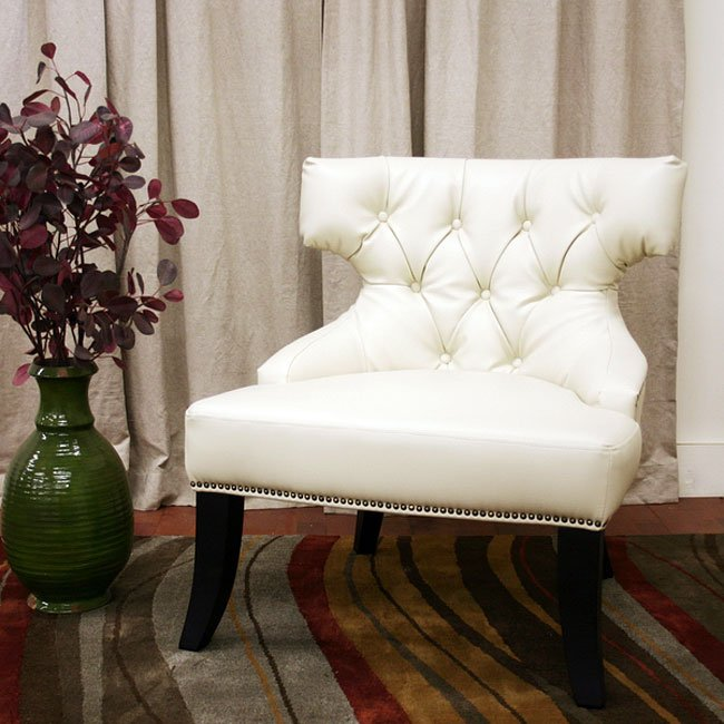 Taft Leather Club Chair (Off-White)