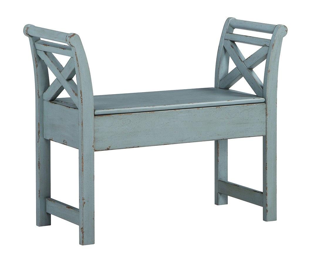 Heron Ridge Accent Bench (Antique Blue) - Heron Ridge Accent Bench (Antique Blue) Signature Design Furniture
