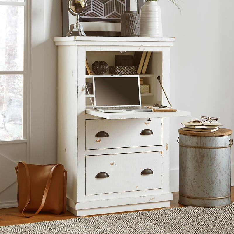 Willow Armoire Desk (Distressed White) Progressive ...