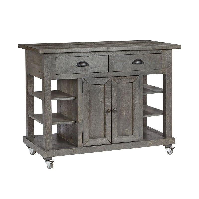 Willow Kitchen Island w/ Doors (Distressed Dark Gray)
