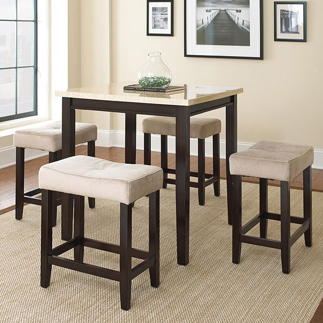 Aberdeen Counter Height Piece Dinette Faux Stone Top Steve - Stone top counter height table