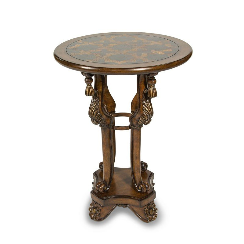 Discoveries Accent Table W/ Blackstone Inlayed Top