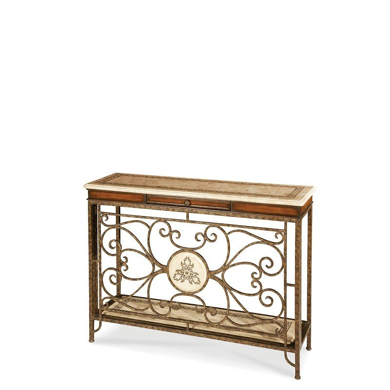Discoveries Console Table W/ Decorative Metal Base