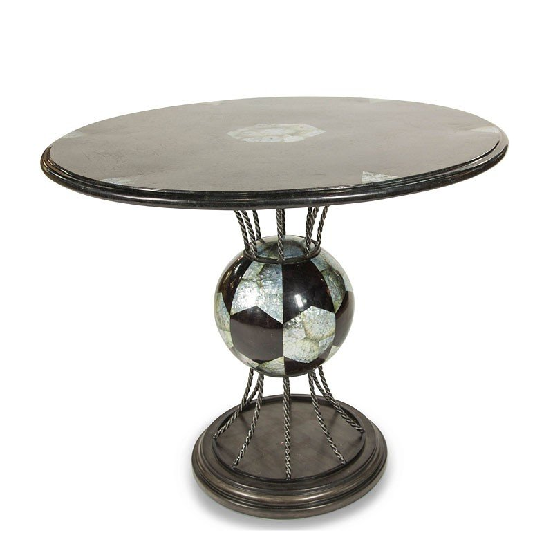 Ordinaire Discoveries Round Entry Table W/ Blackstone Inlays