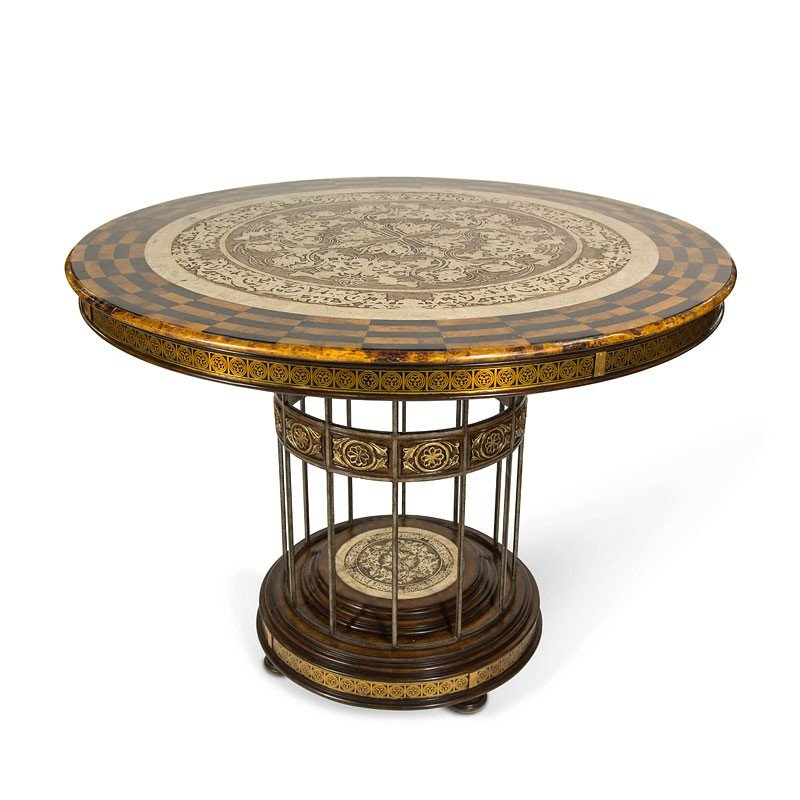Discoveries Round Entry Table W Stone Etched Top Aico Furniture Cart
