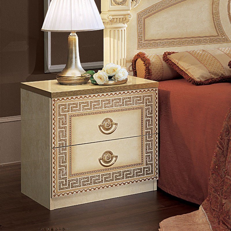 Aida Nightstand (Ivory And Gold) ESF Furniture