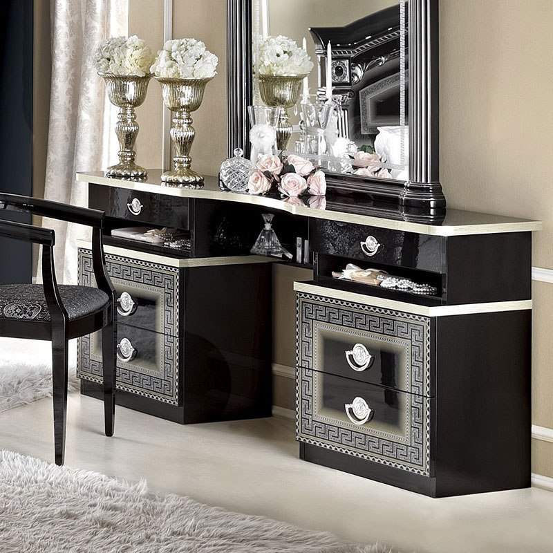 Aida Vanity Dresser (Black And Silver)
