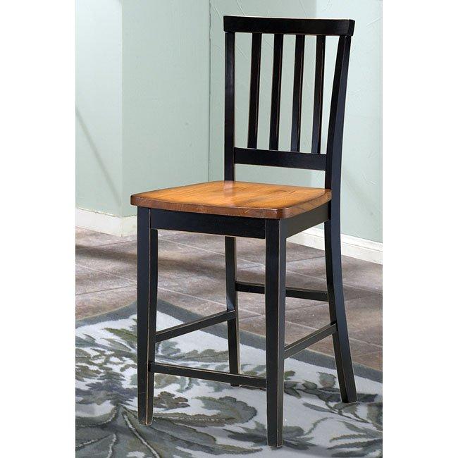 Arlington 30 inch Slat Back Barstool (Black/Java) (Set of 2)