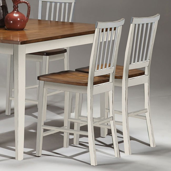 arlington counter height dining room set white java 19657 | ar bs 180 whj k24
