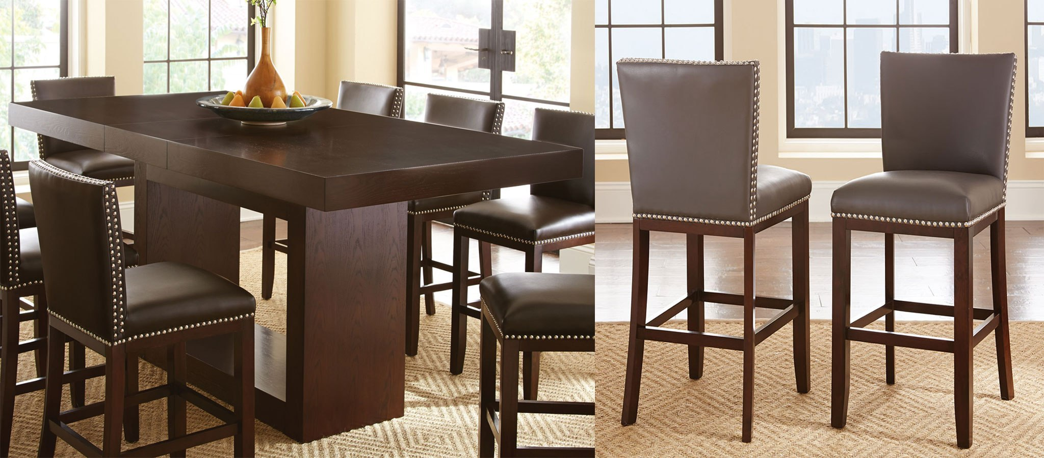 Antonio Counter Height Dining Set W Gray Tiffany Chairs