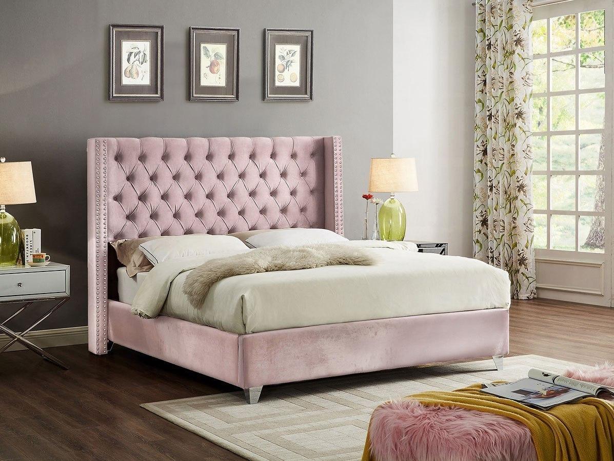 Aiden Upholstered Platform Bed Pink Meridian Furniture Furniture Cart