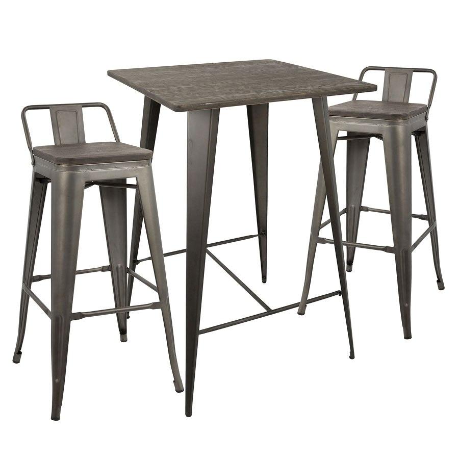 Oregon 3 Piece Low Back Pub Table Set Lumisource