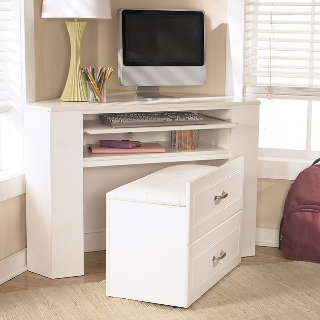 Lulu Corner Desk Media Unit W/ Stool