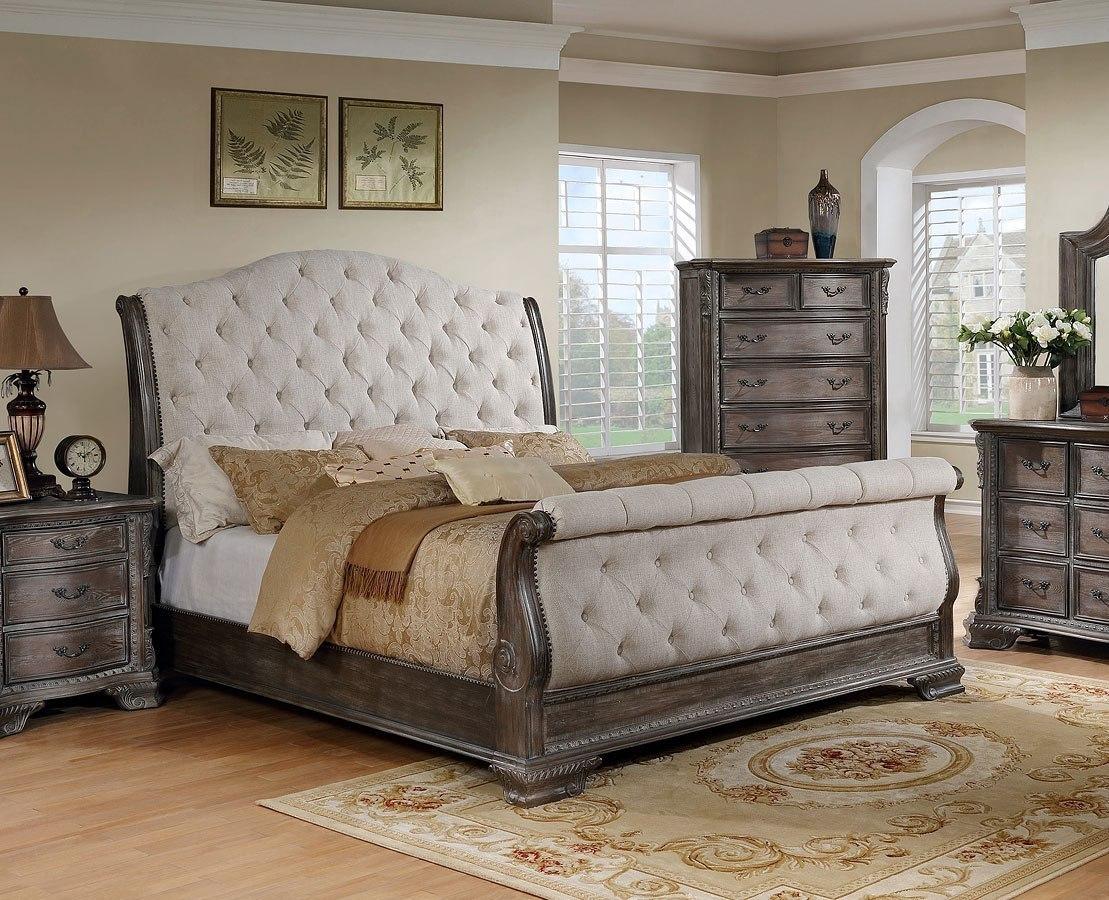 Sheffield Upholstered Sleigh Bed Antique Grey Crown Mark Furniture Furniture Cart