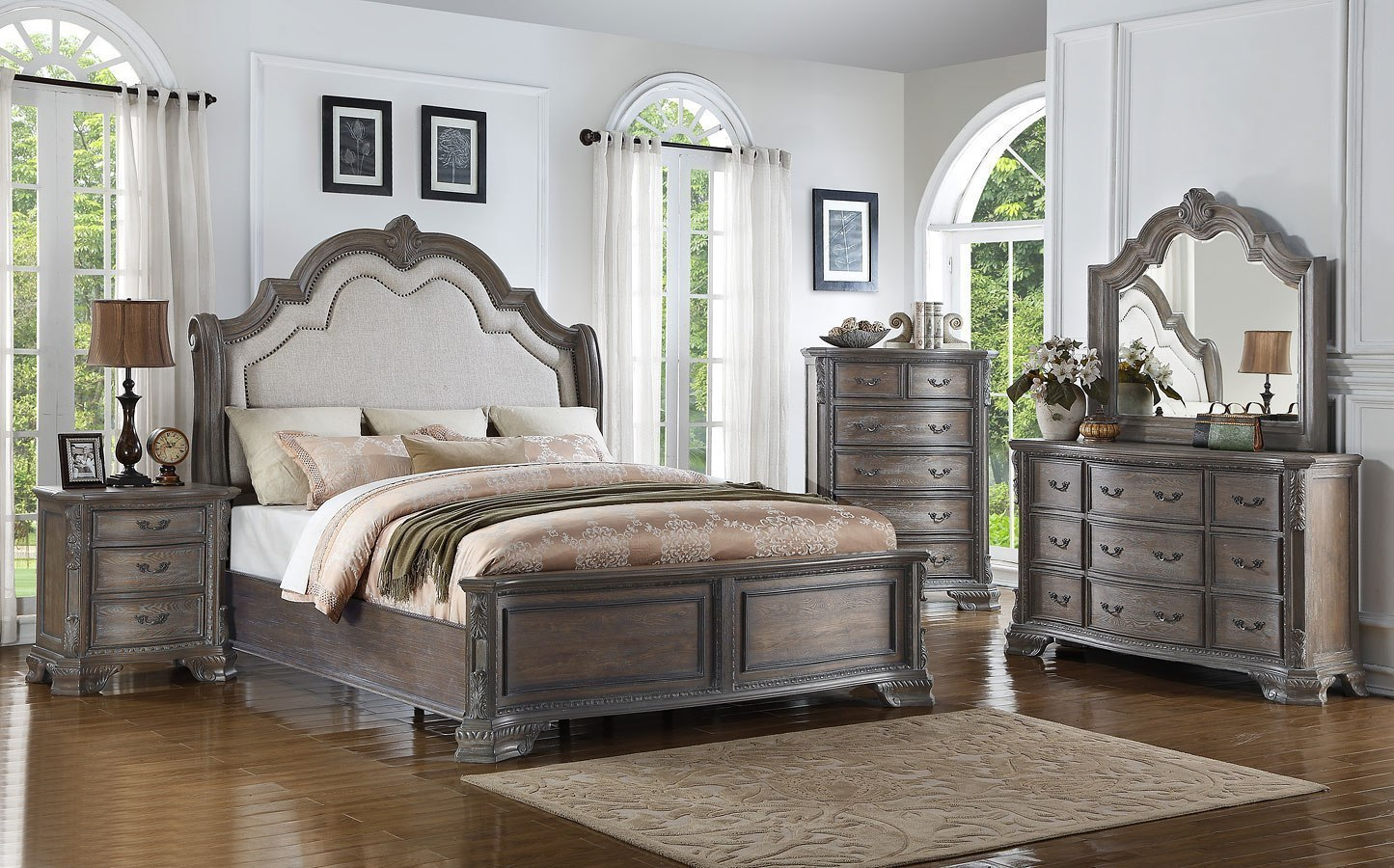 Sheffield Panel Bedroom Set (Antique Grey) Crown Mark