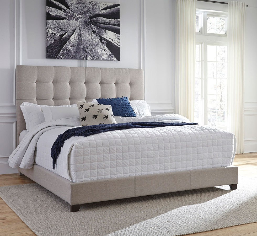 Contemporary Upholstered Bed Beige Signature Design