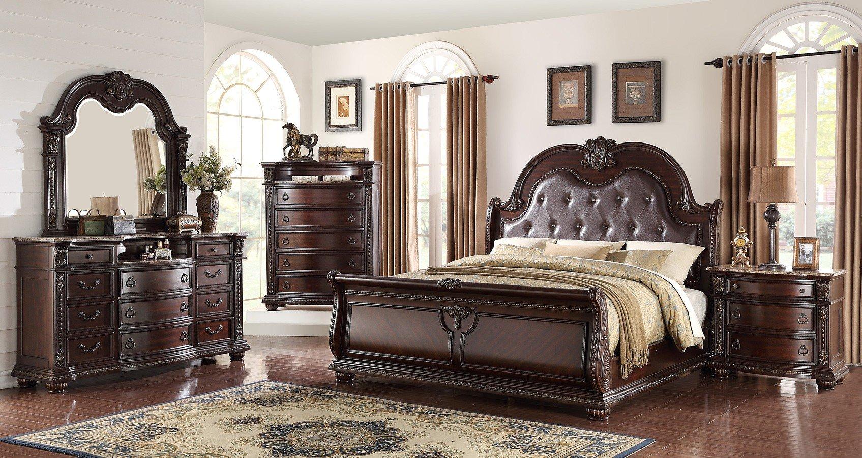 Stanley sleigh bedroom set crown mark furniture furniture cart for Stanley furniture bedroom set
