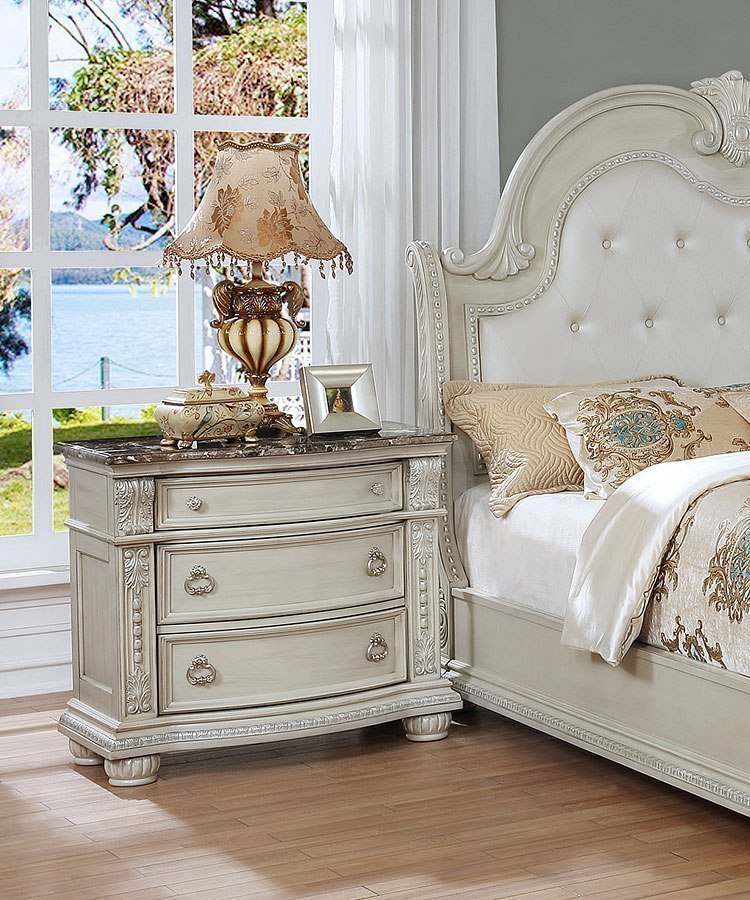 Stanley Sleigh Bedroom Set Antique White Crown Mark Furniture Furniture Cart
