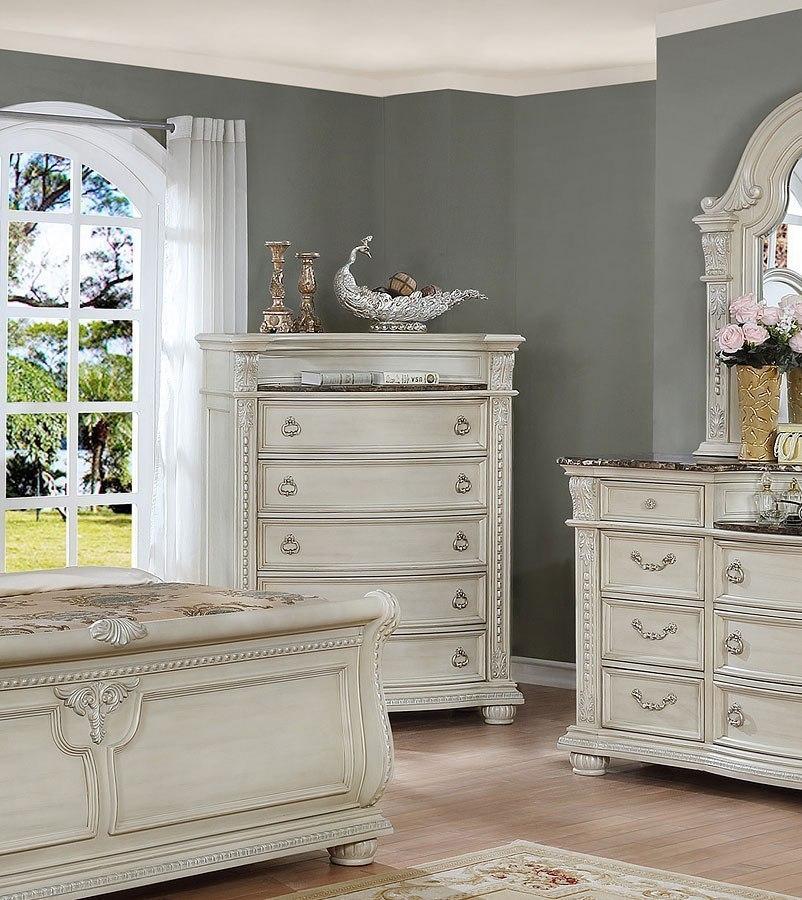 Stanley Sleigh Bedroom Set Antique White Crown Mark
