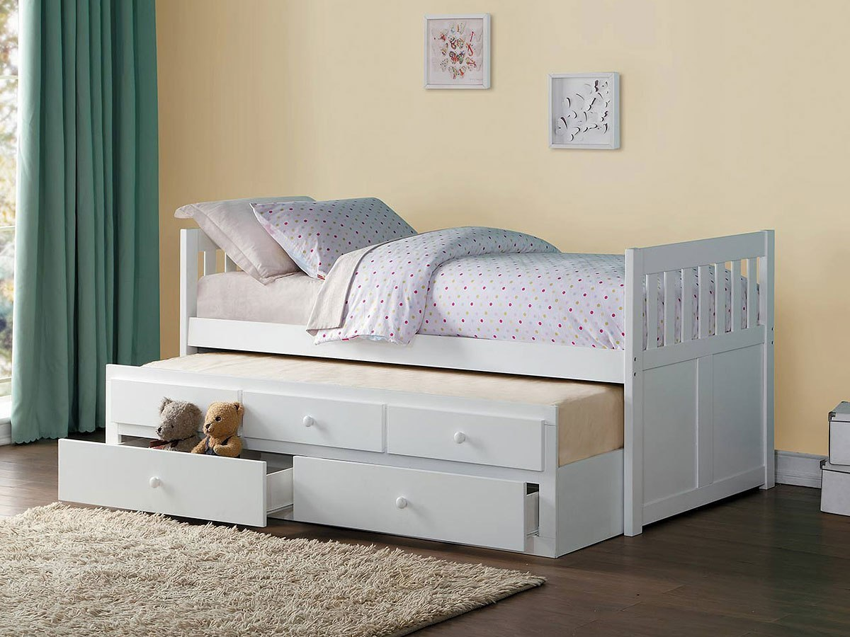Galen twin trundle bed w storage drawers homelegance furniture cart