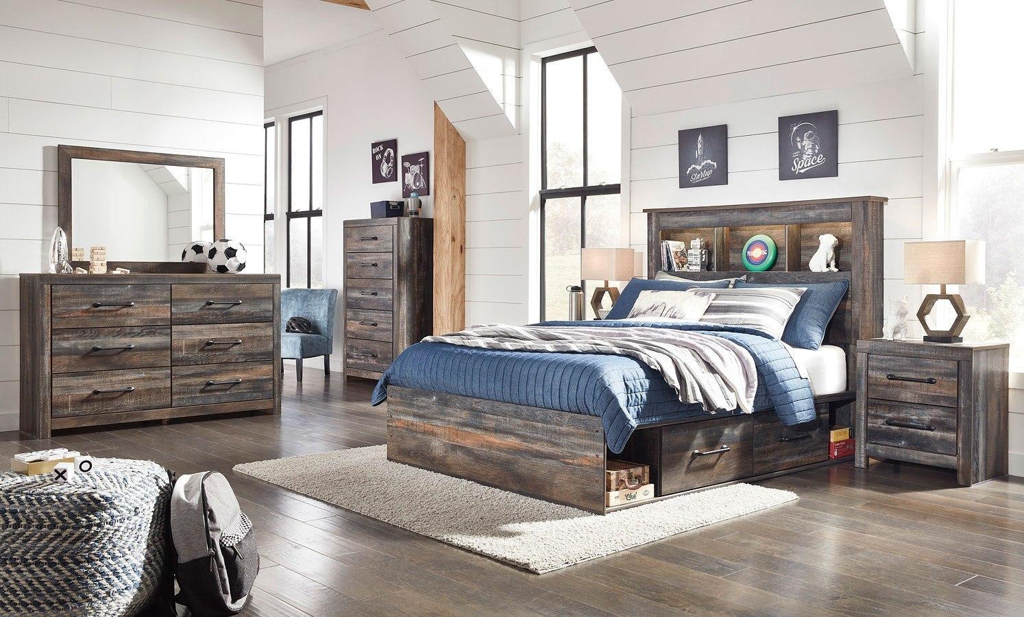 Drystan Youth Bookcase Bedroom Set W/ Side Storage ...