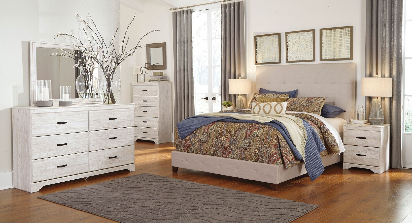 briartown bedroom set w cream upholstered bed signature 13694 | b218 92 b130 481 br set cream uph bed 1