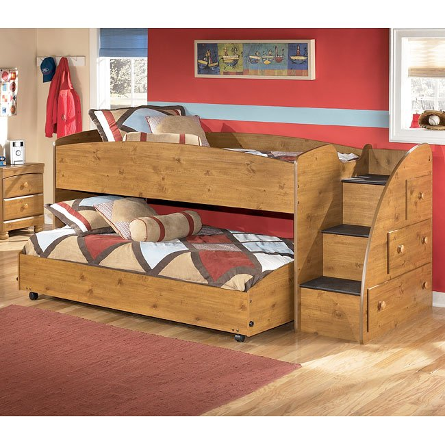 Stages Twin Loft Bed W Right Steps Signature Design Furniture Cart