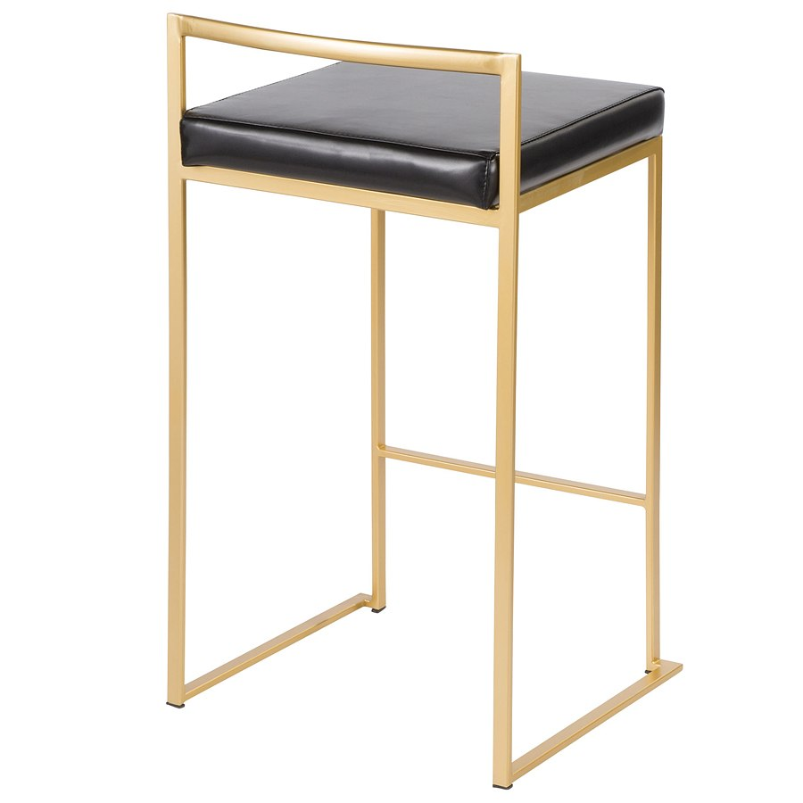 Fuji Counter Height Stool Gold Black Set Of 2