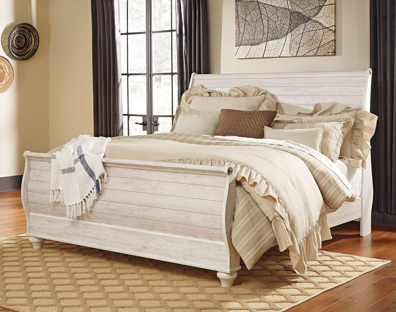 Willowton sleigh bedroom set signature design 3 reviews - Ashley furniture sleigh bedroom set ...