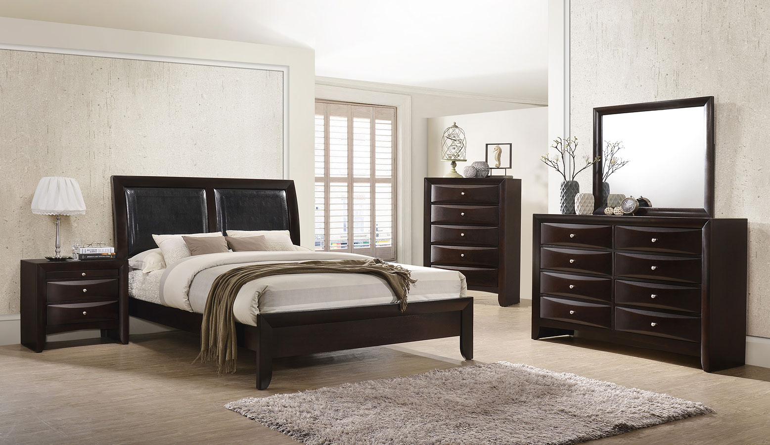 Exceptionnel Emily Panel Bedroom Set (Dark Cherry)