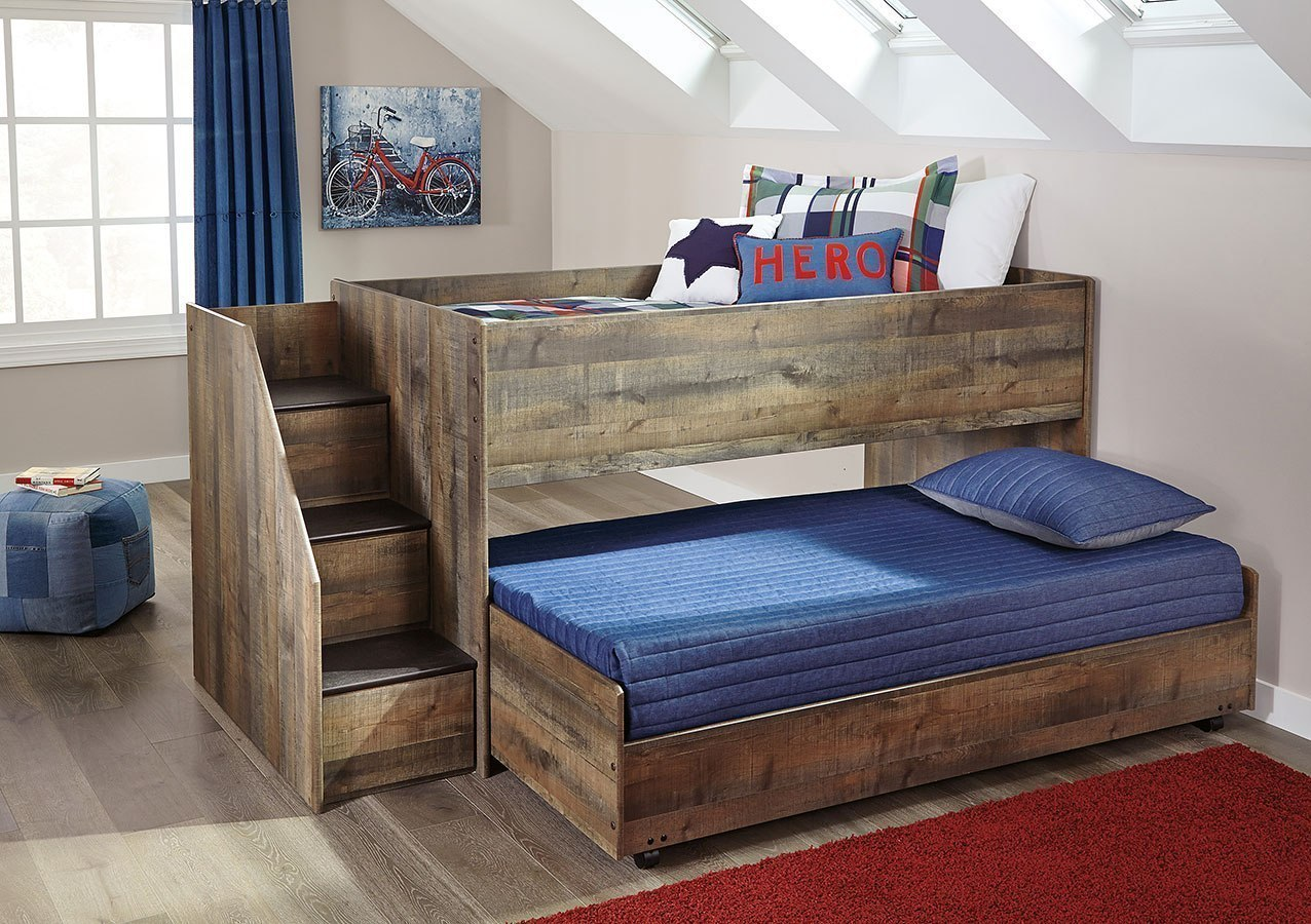 Trinell Twin Over Twin Loft Bed Signature Design Furniture Cart