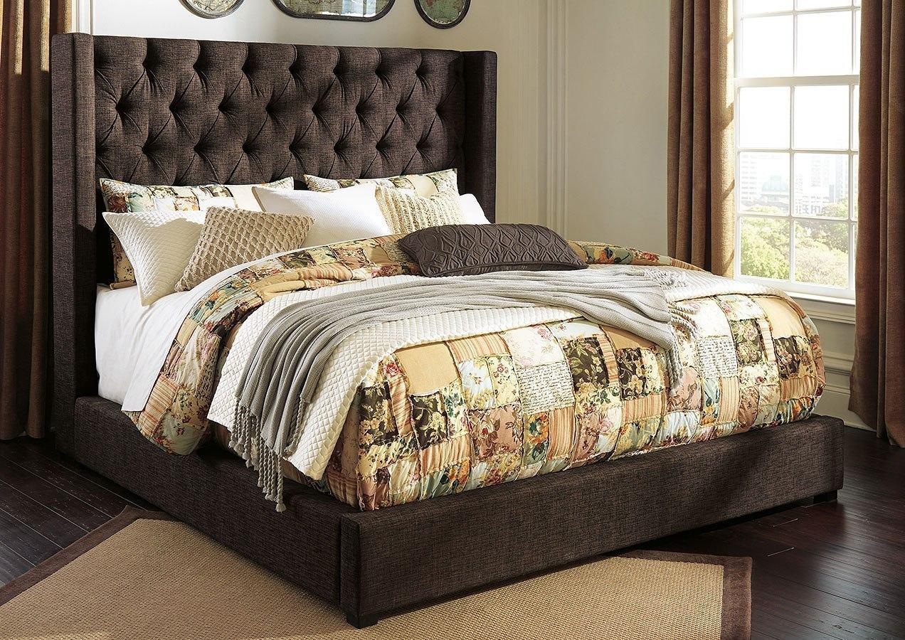 Norrister Dark Brown Upholstered Bed Signature Design Furniture Cart