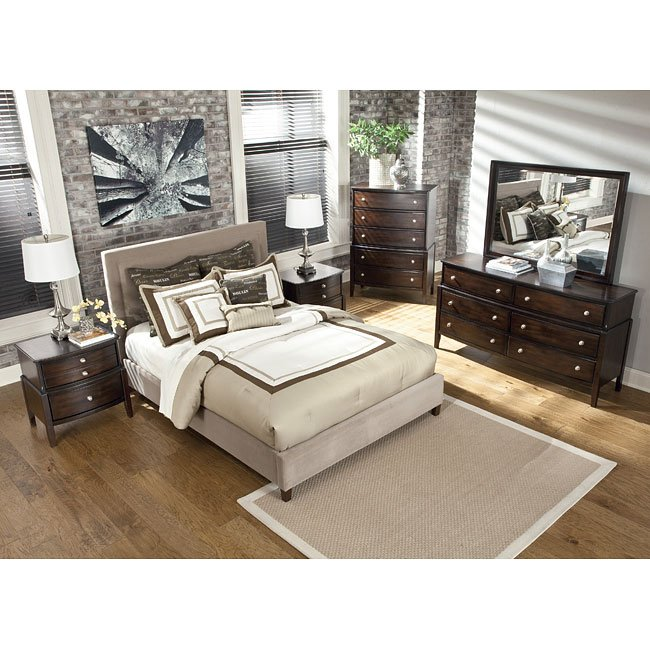 Naomi Bedroom Set W Beige Upholstered Bed Signature Design Furniture Cart