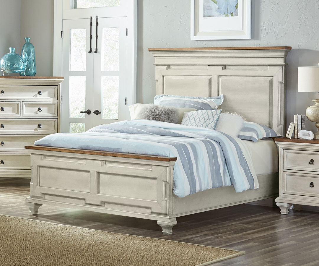 Cancun Panel Bed (Gray And Pine) (Queen) By Largo Furniture