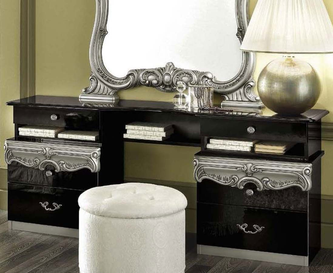 Blacks furniture White Wall Barocco Vanity Dresser black And Silver Walnut Street Synagogue Barocco Vanity Dresser black And Silver Esf Furniture Furniture Cart