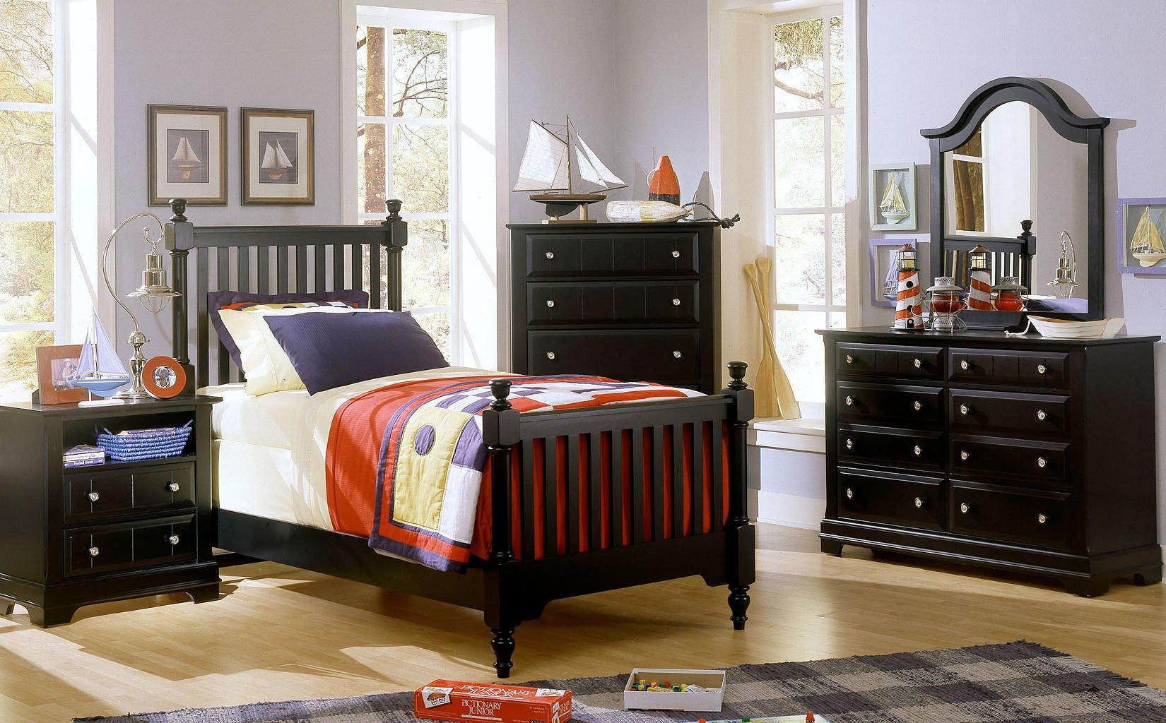 Cottage Youth Slat Poster Bedroom Set (Black)