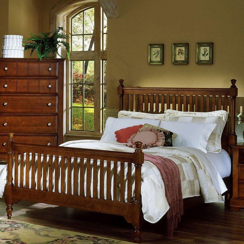 Cottage Slat Poster Bedroom Set (Cherry) Vaughan Bassett