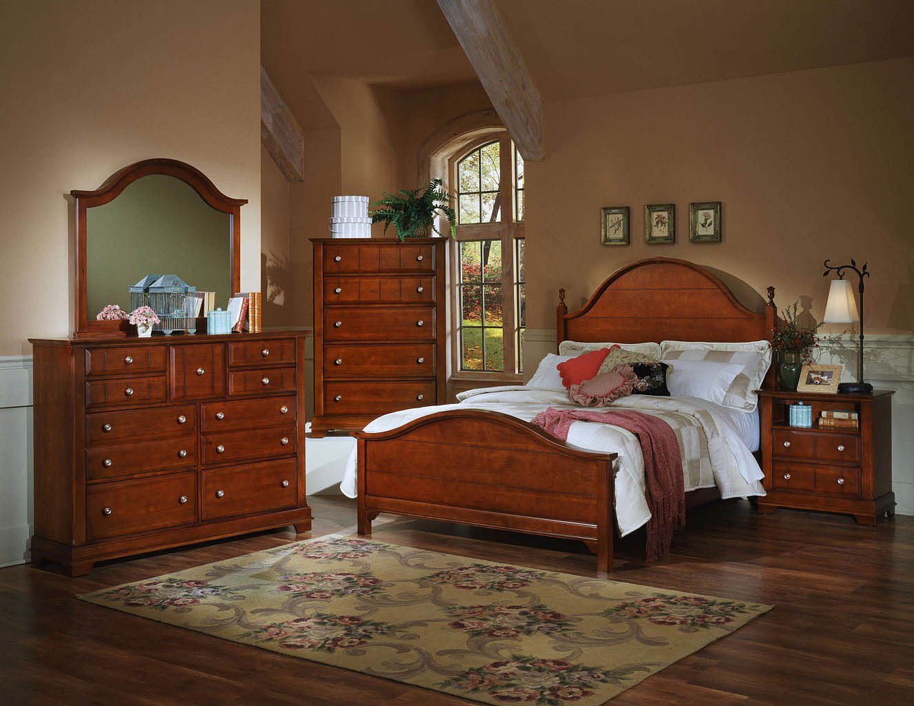 Cottage Panel Bedroom Set Cherry Vaughan Bassett Furniture Cart