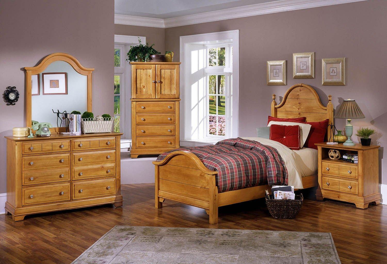 Cottage youth panel bedroom set pine vaughan bassett - Childrens pine bedroom furniture ...
