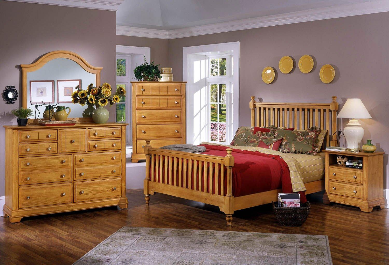 Cottage Slat Poster Bedroom Set (Pine) Vaughan Bassett | Furniture Cart
