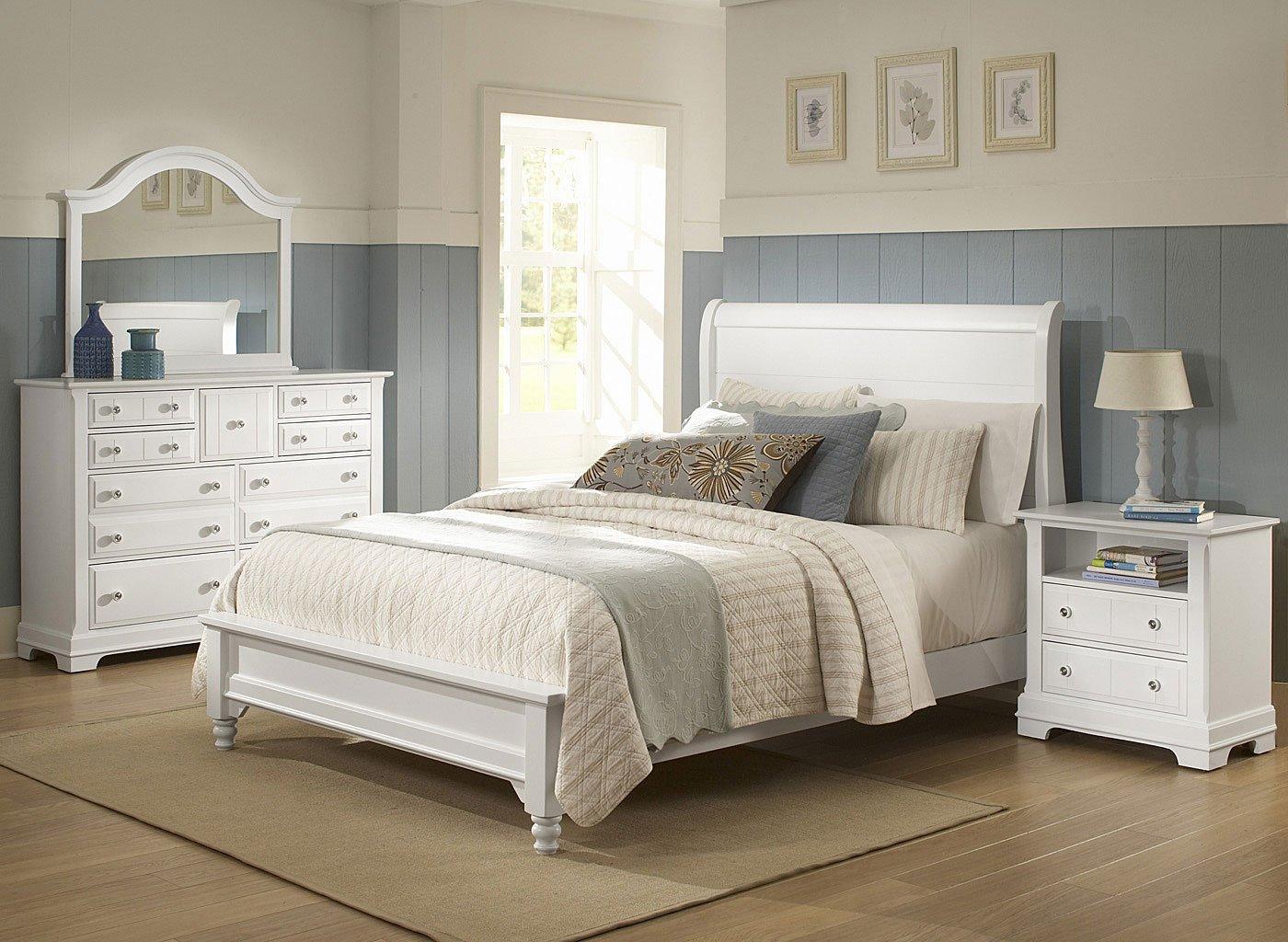 cottage sleigh bedroom set snow white vaughan bassett furniture cart