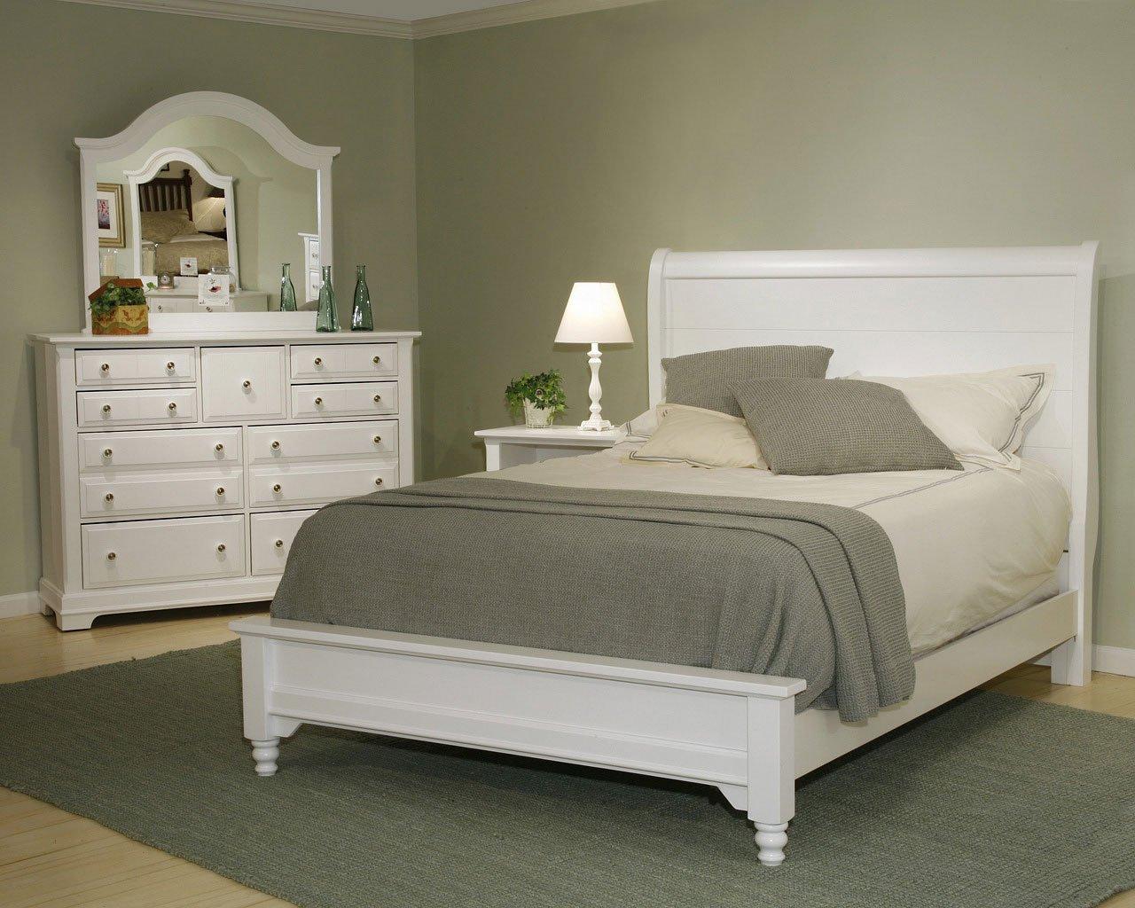 Cottage Sleigh Bedroom Set (Snow White) Vaughan Bassett ...