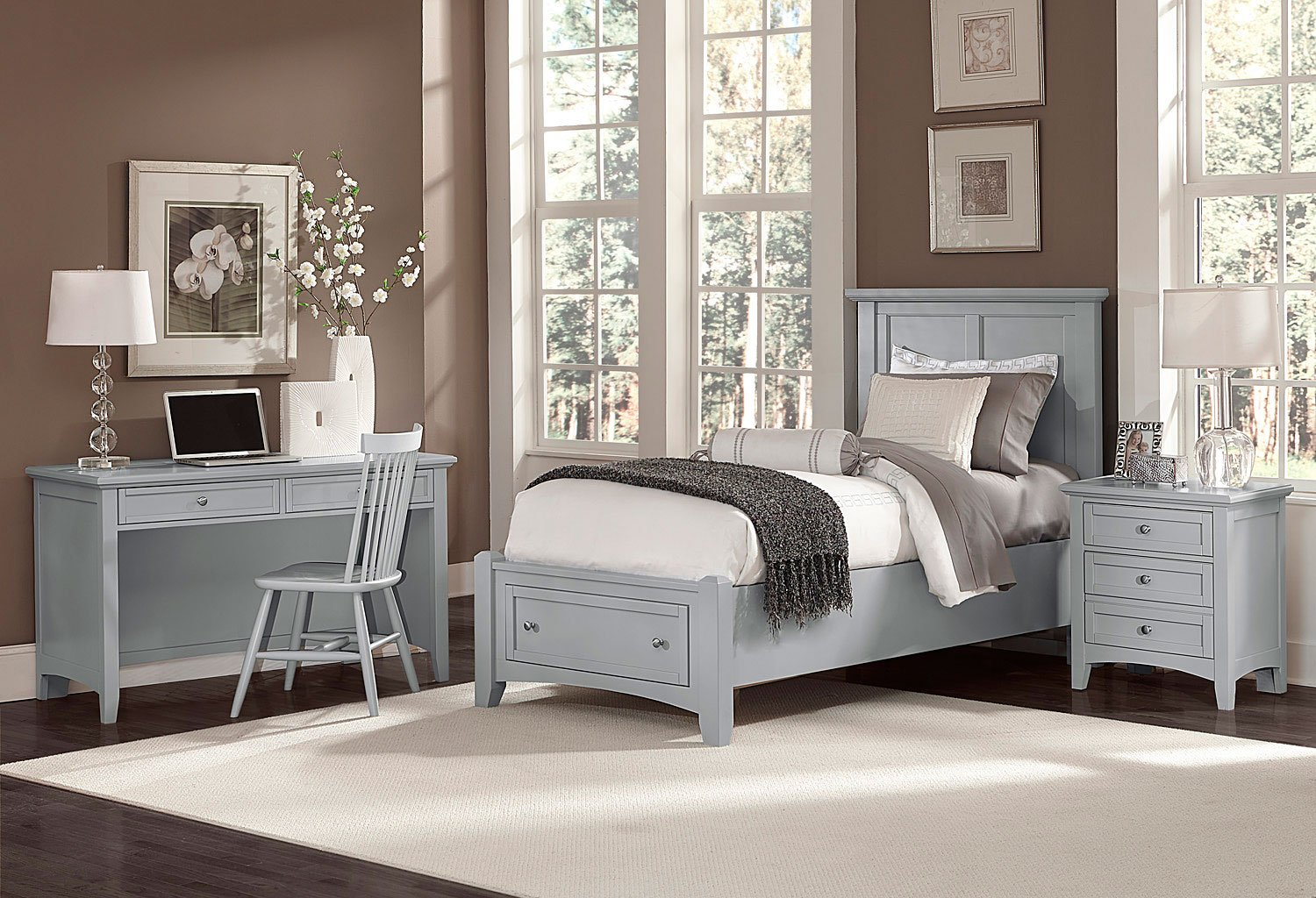 Bonanza youth mansion storage bedroom set gray vaughan - Youth bedroom furniture with storage ...