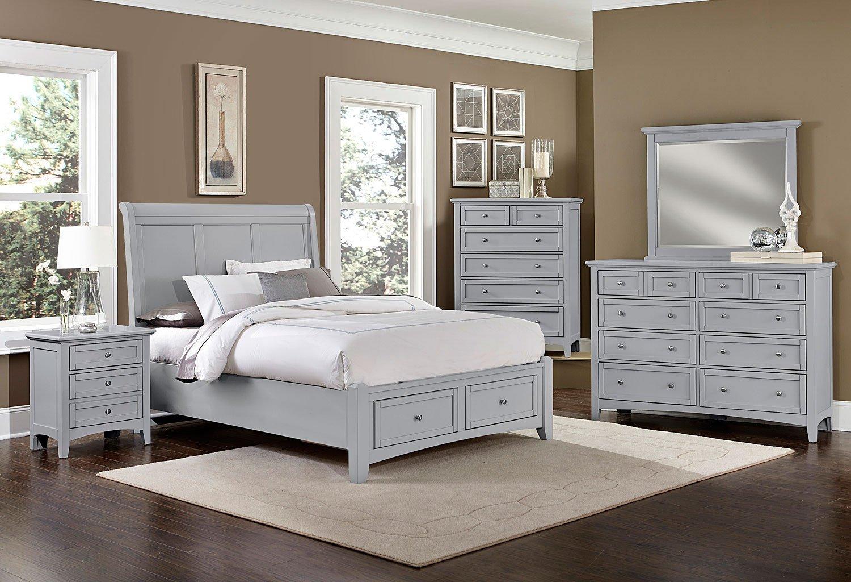 Bonanza Sleigh Storage Bedroom Set (Gray)