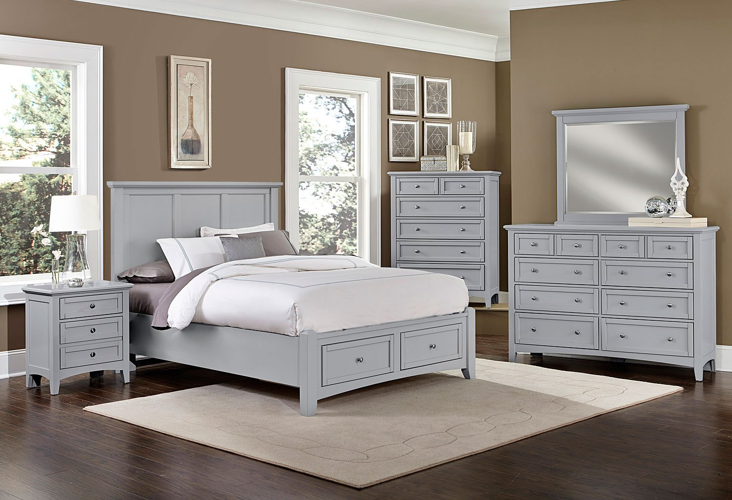 Bonanza Mansion Storage Bedroom Set (Gray) Vaughan Bassett