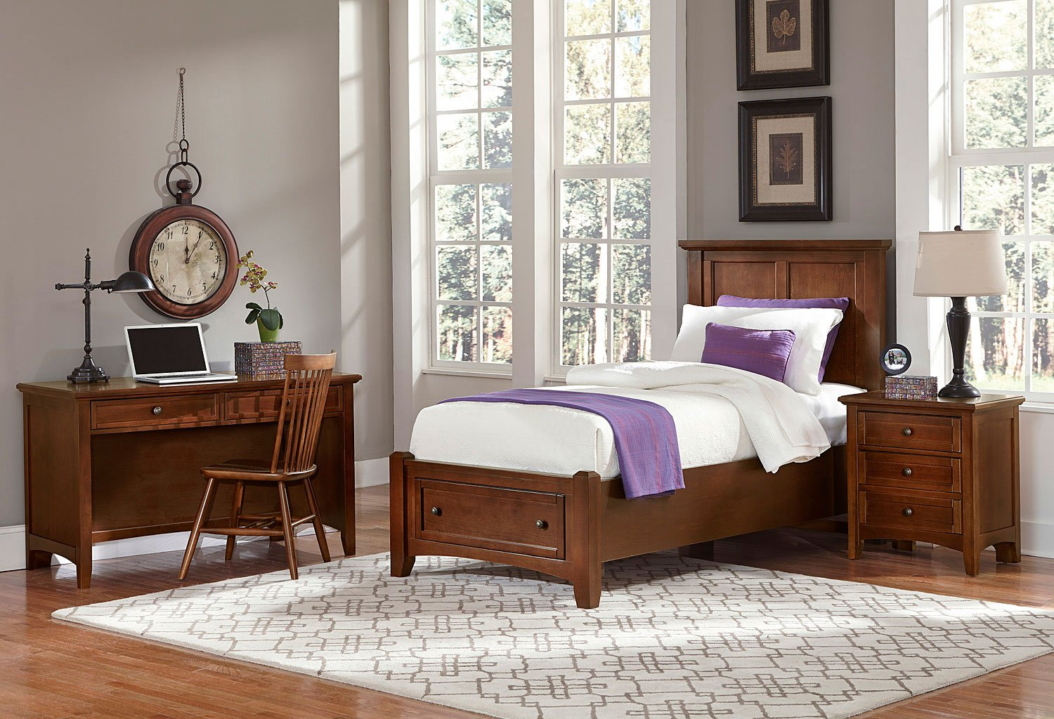 Bonanza youth mansion storage bedroom set cherry vaughan - Youth bedroom furniture with storage ...