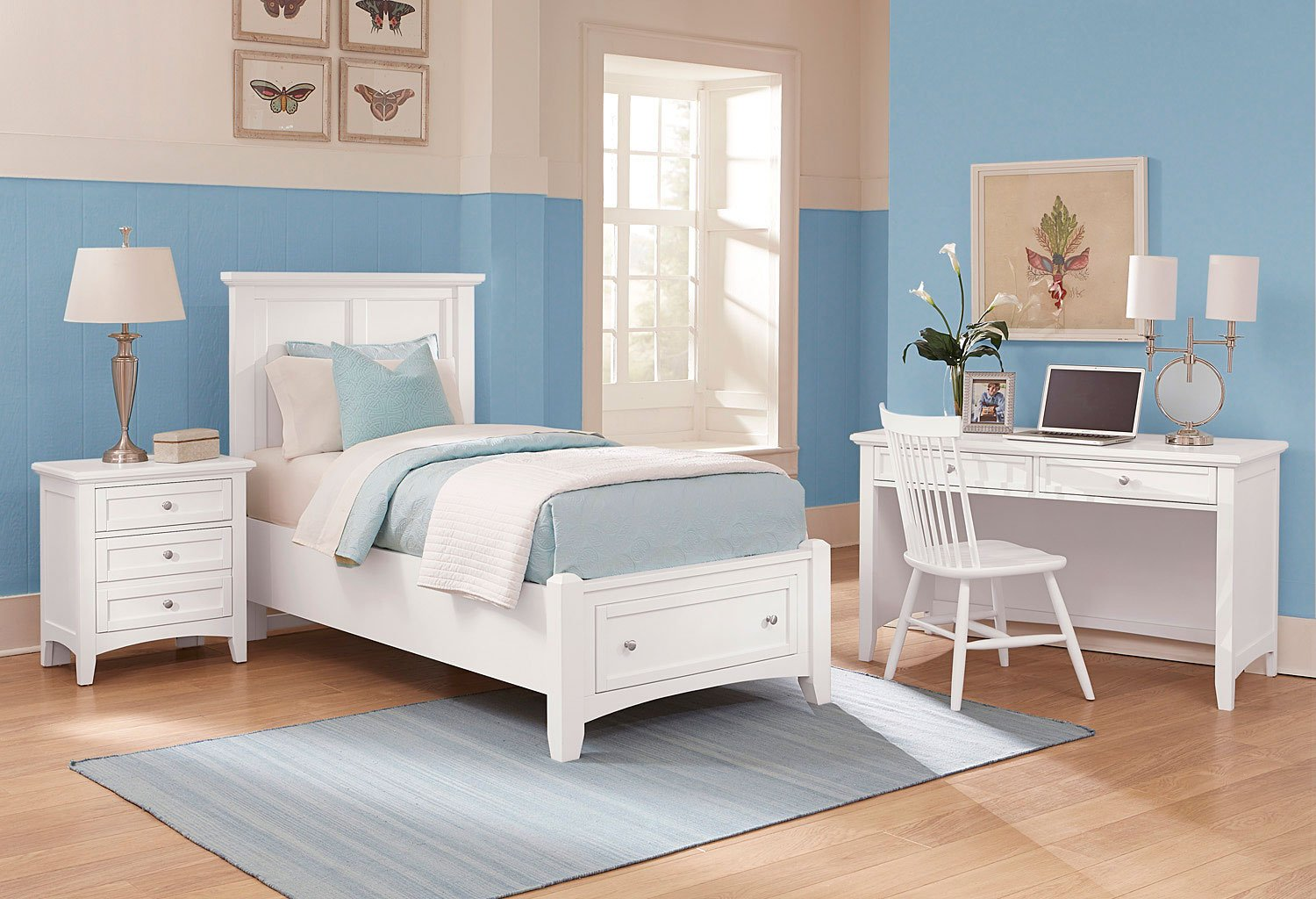 Bonanza youth mansion storage bedroom set white vaughan - Youth bedroom furniture with storage ...