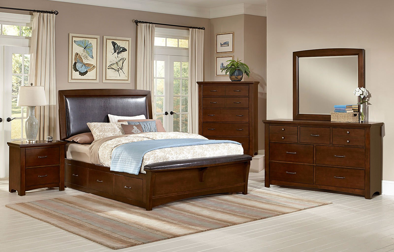 Genial Transitions Upholstered Bedroom Set W/ Two Storages (Dark Cherry) Vaughan  Bassett | Furniture Cart