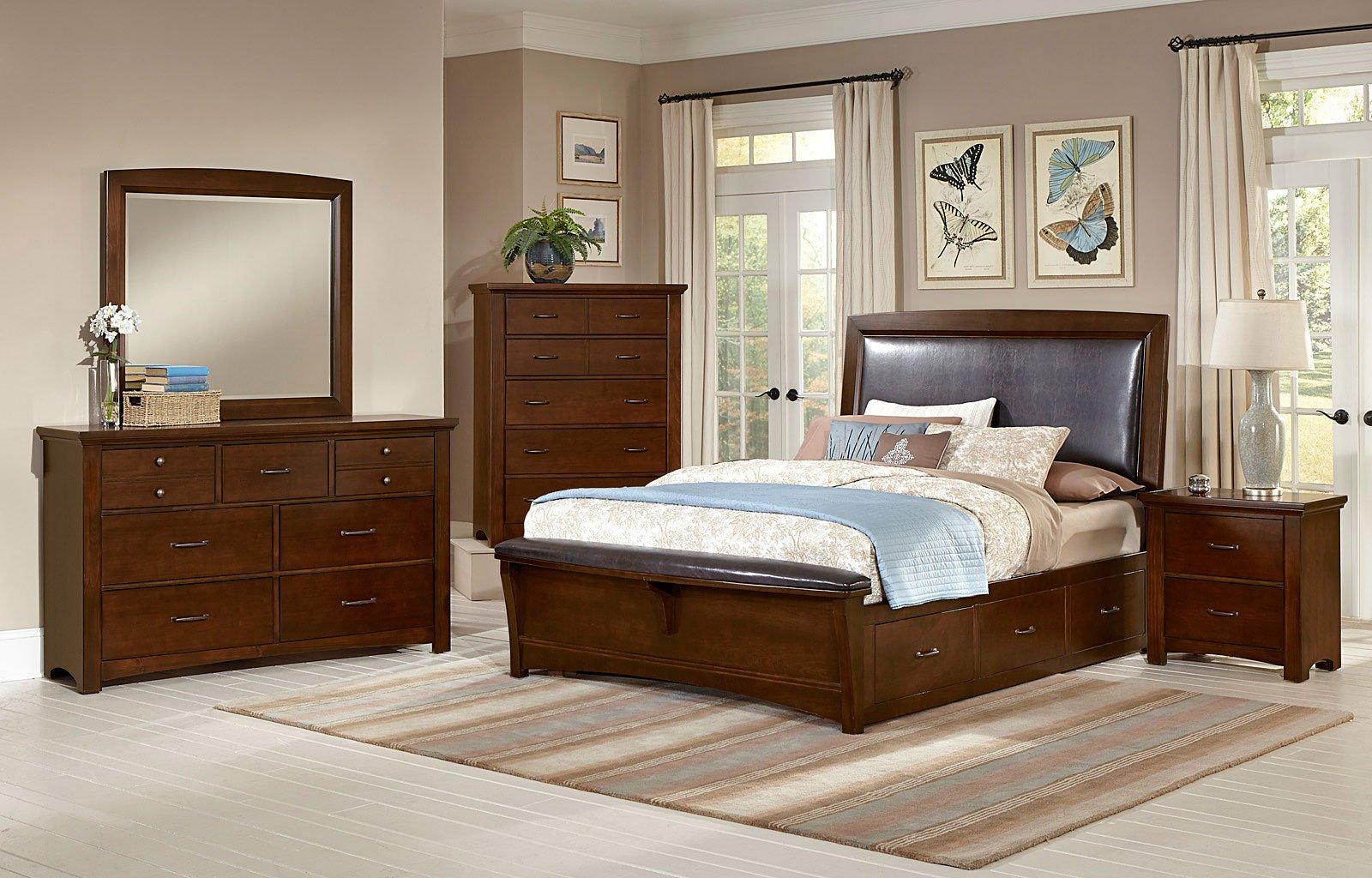 Transitions Upholstered Bedroom Set w/ One Storage (Dark Cherry)